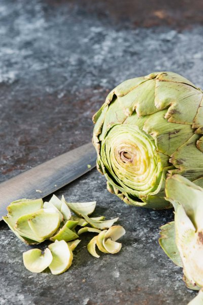 Artichoke with top and stem cut off