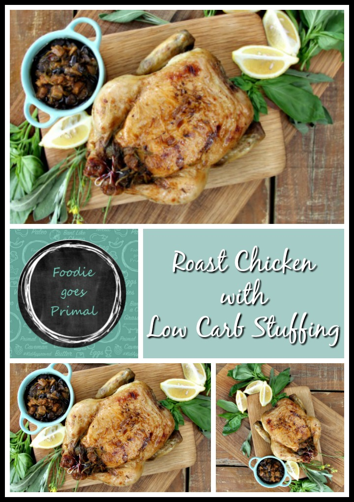 Roast chicken with low carb stuffing