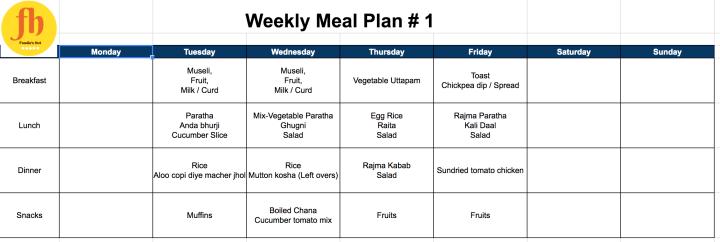 Weekly meal plan 1 by Foodie's hut