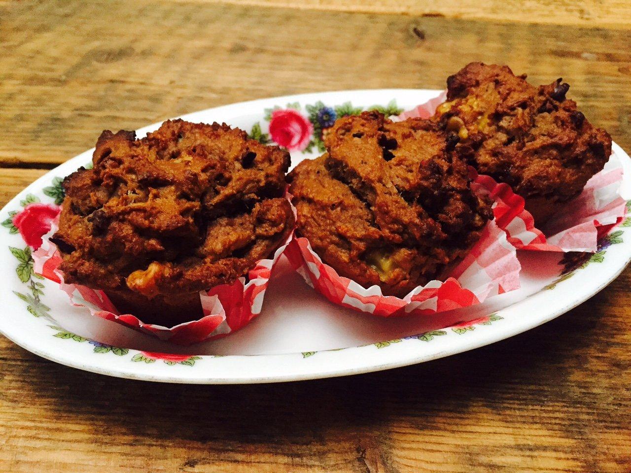 Ontbijtmuffins chocolade pindamuffins recept gezondermaand foodblog Foodinista