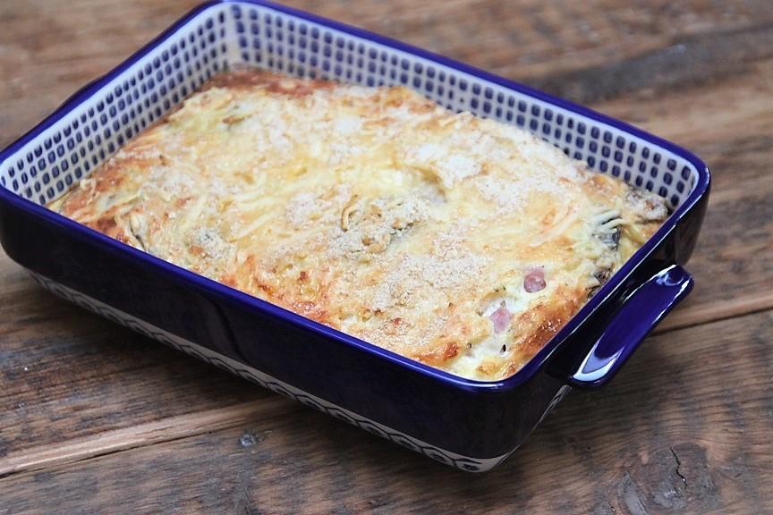 Recept voor ovenomelet met ham, kaas en champignons van foodblog Foodinista