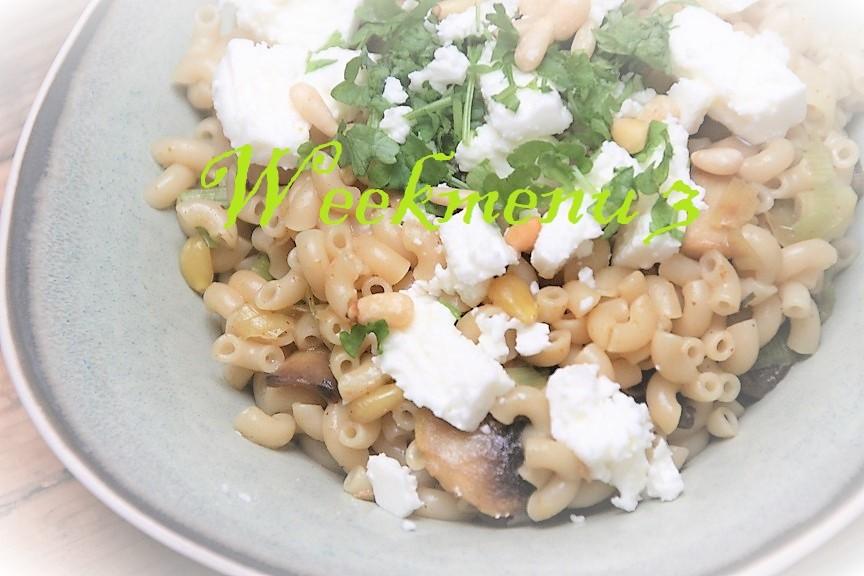 Gevarieerd en makkelijk weekmenu 3 met pasta met prei en feta Foodblog Foodinista