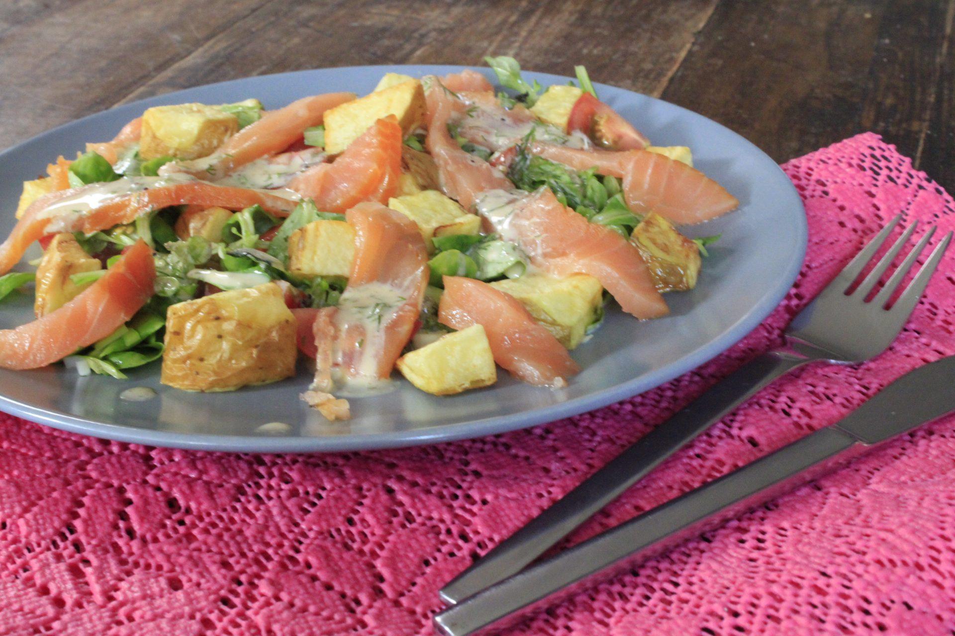 Maaltijdsalade met gerookte zalm recept van Foodblog Foodinista