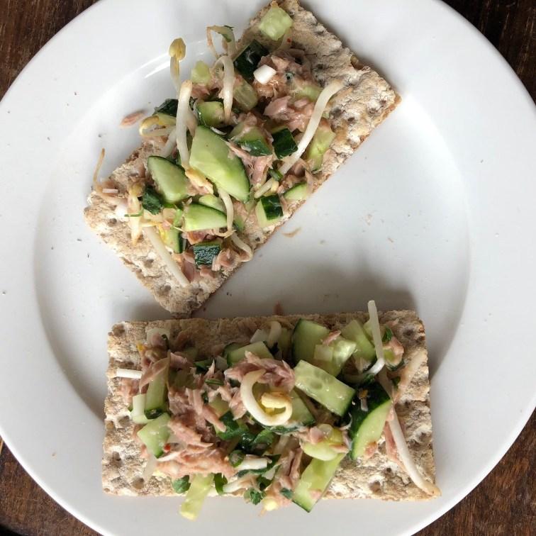 Crackers met tonijn met rauwkost Newfysic proof Foodblog Foodinista