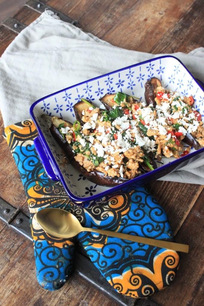 Aubergines recept met gehakt, paprika, spinazie en feta recept van Foodblog Foodinista