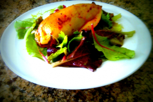 Shrimp Stuffed Calamari on a bed of Mesclun