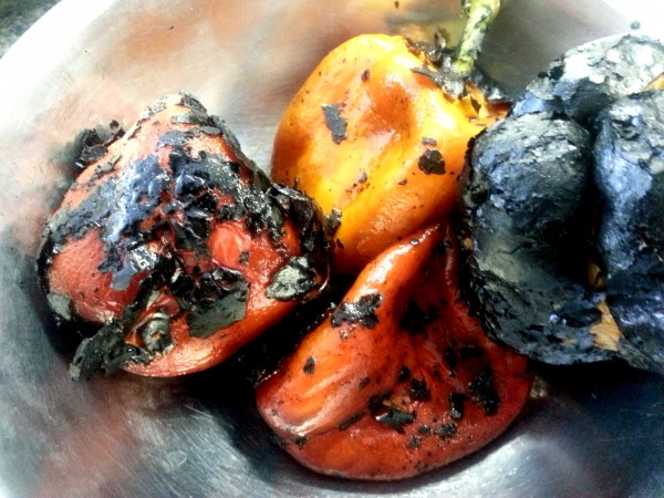 Peeled/partially peeled peppers - some charred bits left on