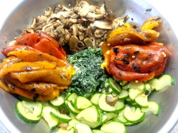Peppers, Zucchini, Mushrooms, Spinach