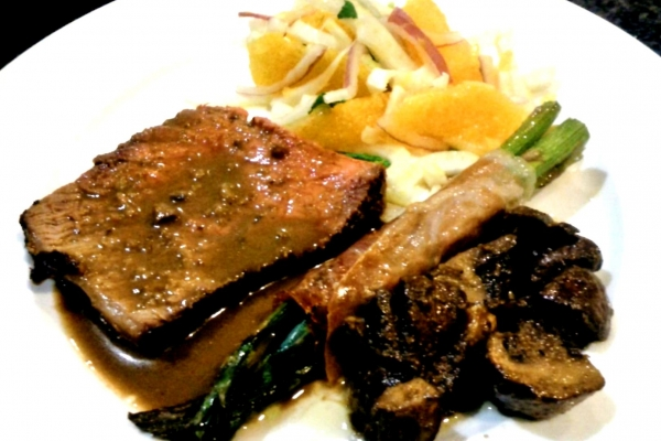 Roast Beef, Prosciutto Wrapped Asparagus, Sauteed Mushrooms and Orange and Fennel Salad