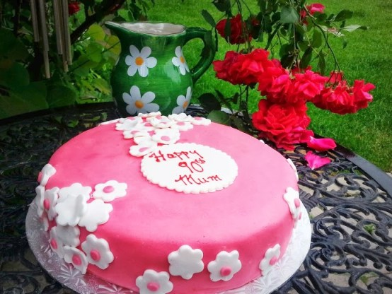 Pink Fondant Yellow Cake with Fresh Fig Buttercream
