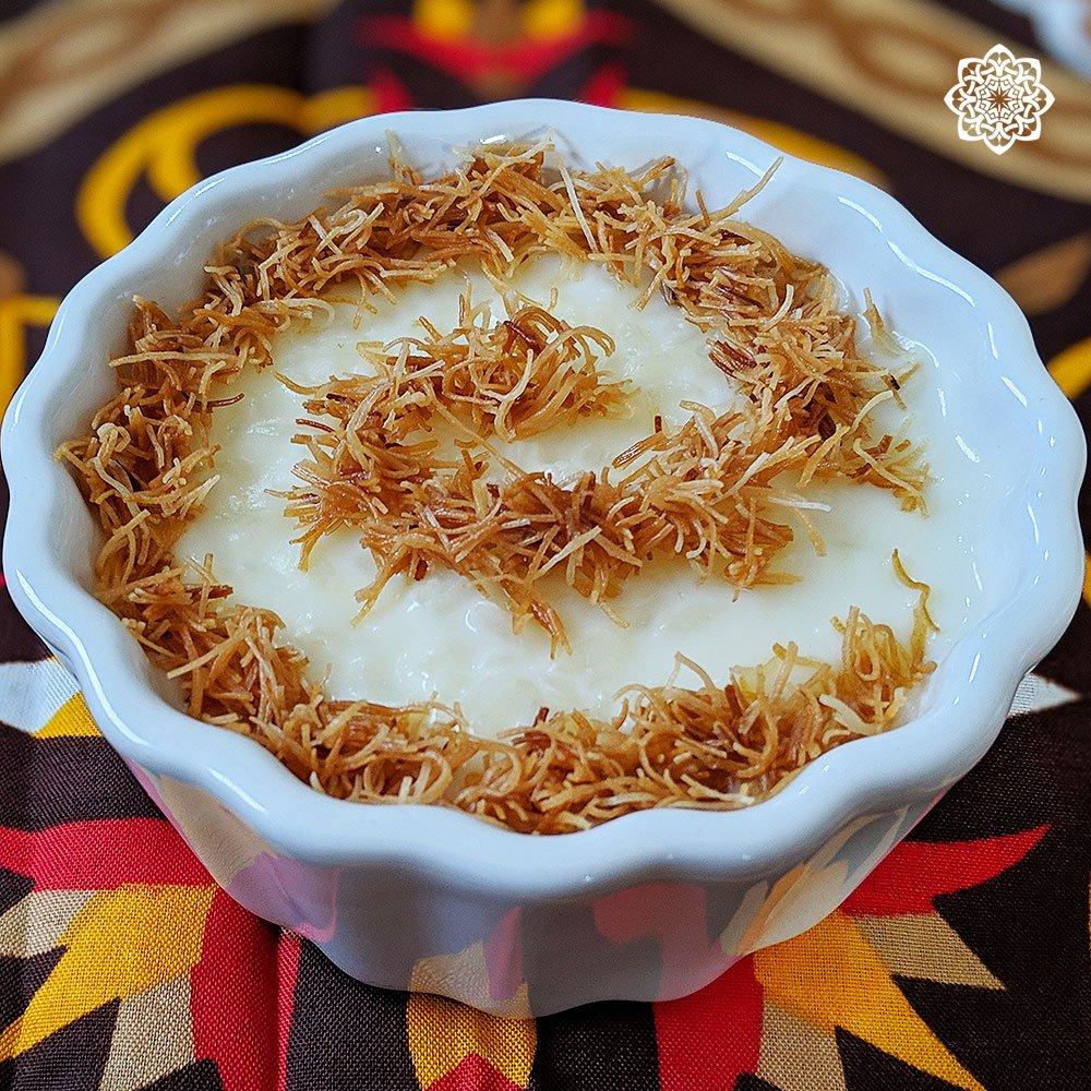 Egyptian/Middle Eastern Dessert (Rice Pudding أرز باللبن) with Kunafa