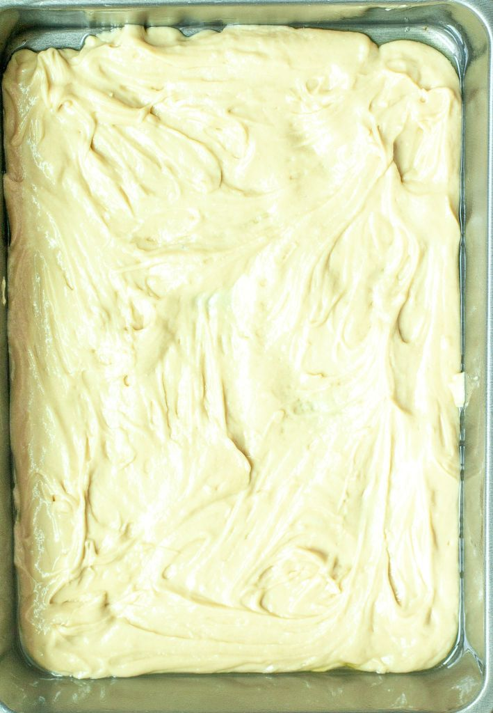 Half of the coffee cake batter spread in 9x13 pan.