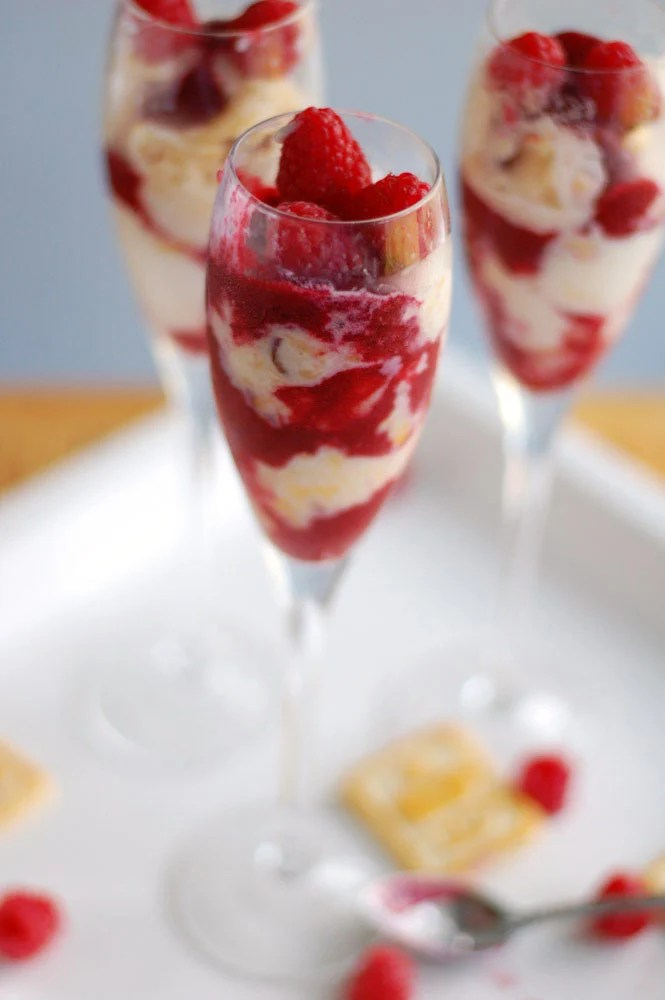 Peach Melba Parfaits in champagne flutes