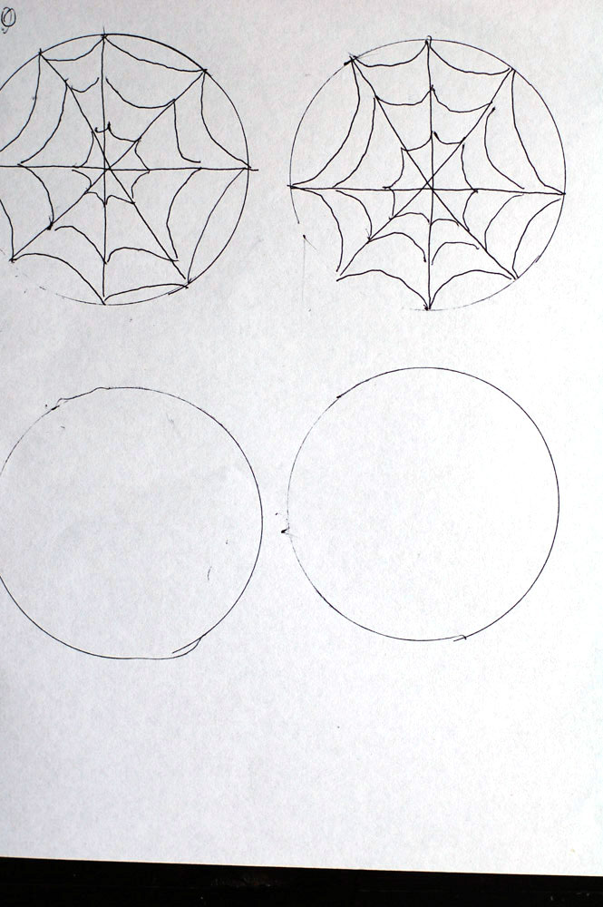 drawing of spider web chocolate toppers
