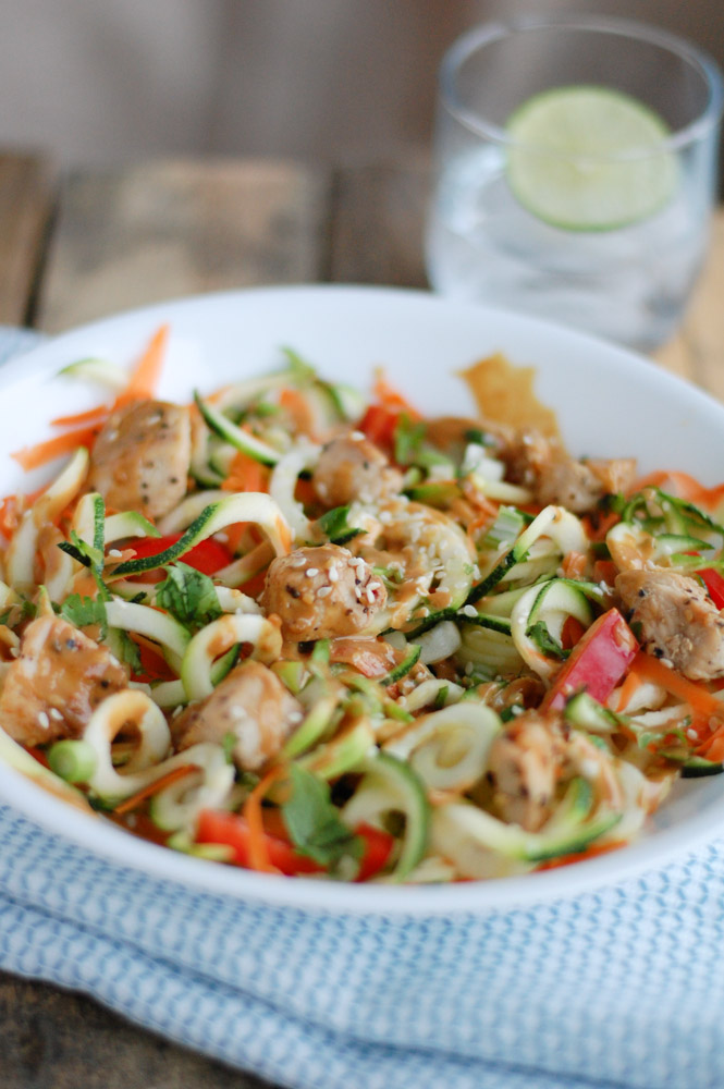 Chicken and Zucchini Noodles with Spicy Peanut Butter Sauce
