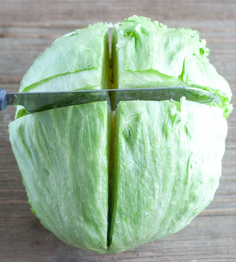Iceberg lettuce cut into wedges