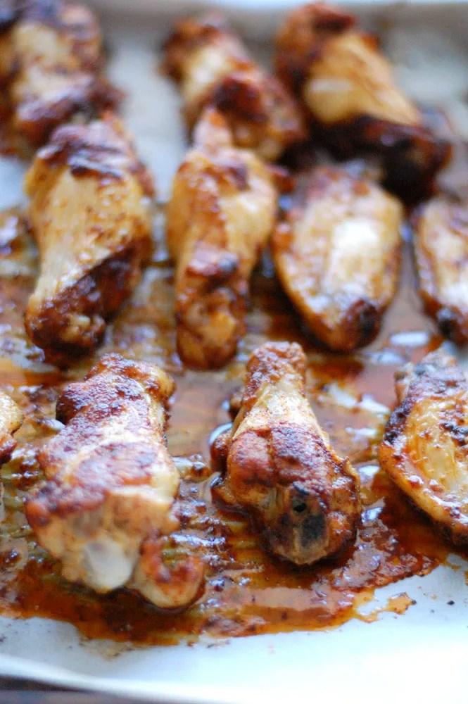 Chicken wings on baking sheet