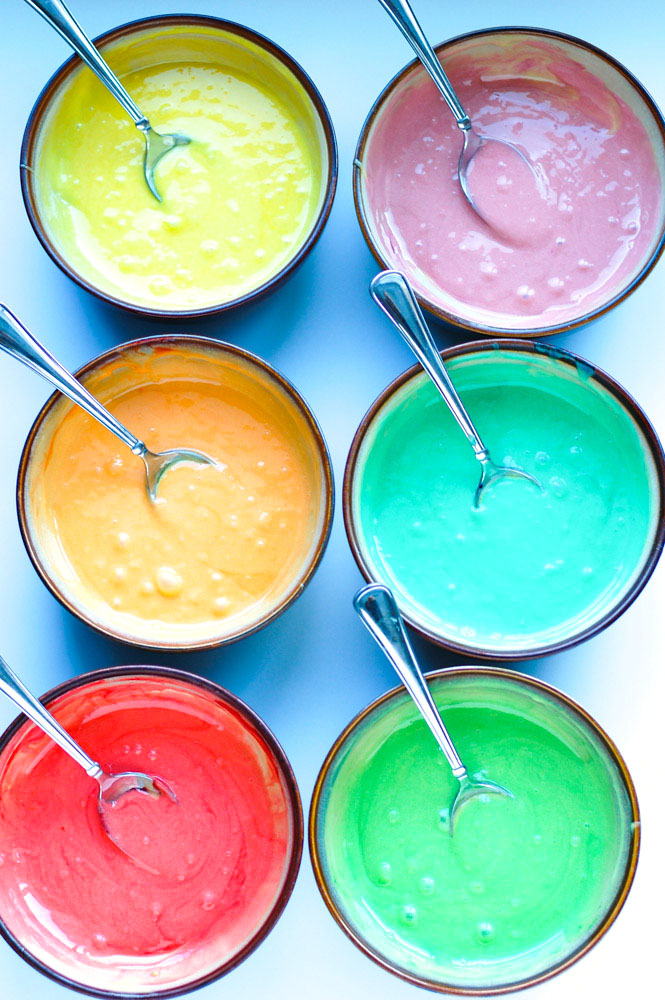 Rainbow Cake Batter in bowls