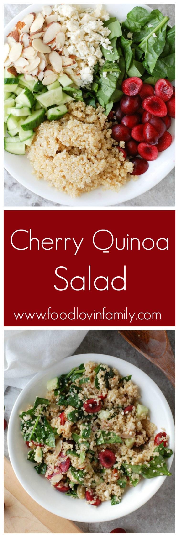 Cherry quinoa salad combines fresh sweet cherries, quinoa, spinach, almonds and blue cheese.