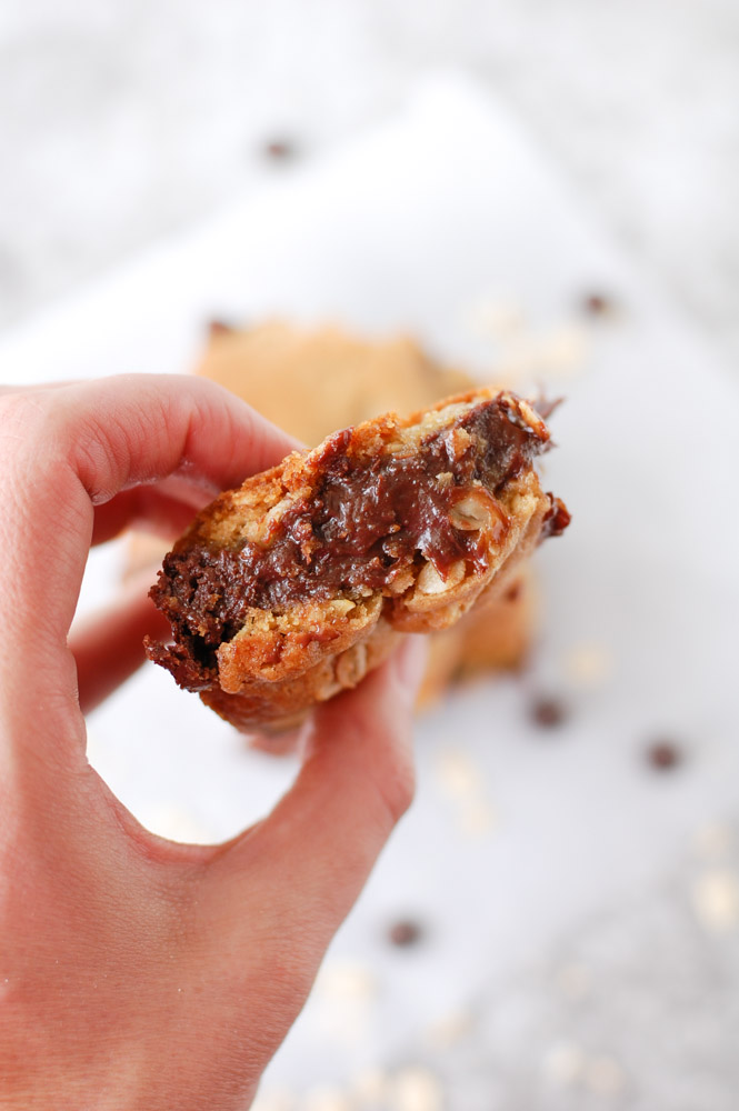 Oatmeal Fudge bar in a hand