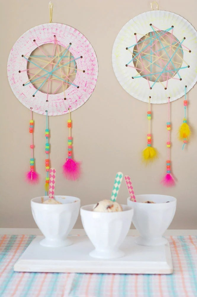 Dream catcher craft for kids food lovin family for Craft ideas for old dishes