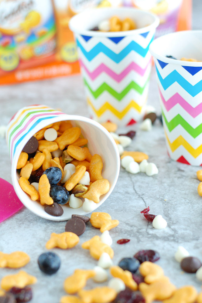 This salty and sweet Goldfish® Crackers Snack Mix is easy to put together and makes a great after school snack. A wonderful way to get the kids help in the kitchen and have fun!