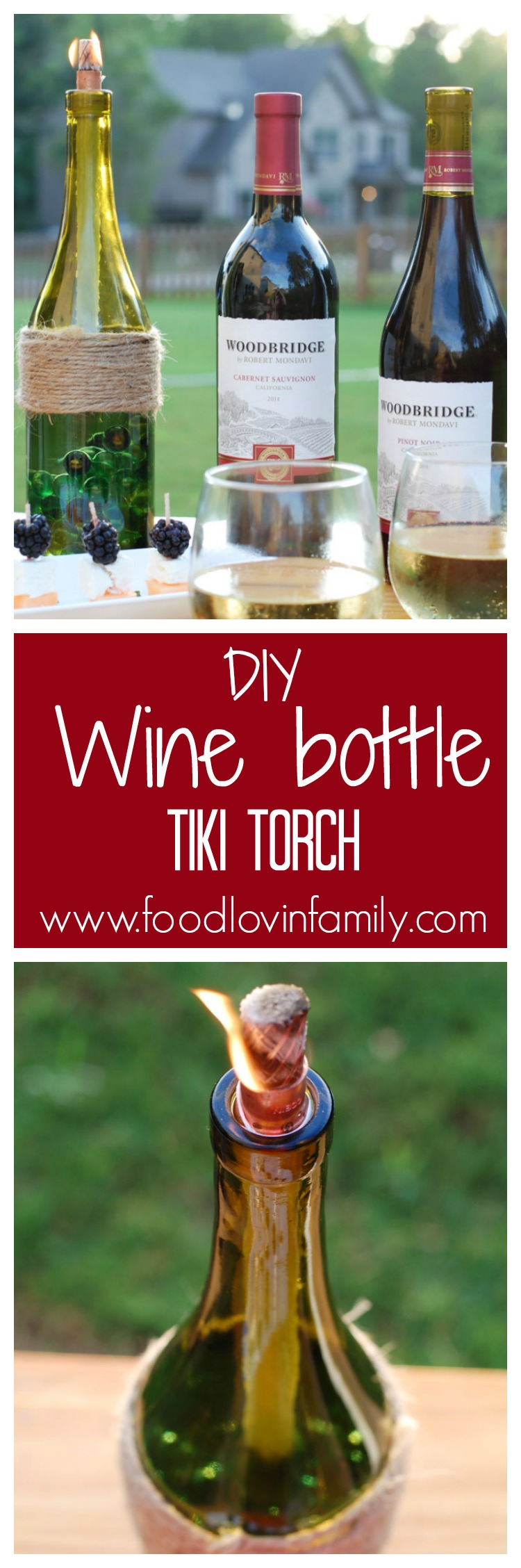 Turn your leftover wine bottles into beautiful backyard DIY wine bottle Tiki torches. They are a perfect way to recycle those old bottles and keep away the bugs from your backyard entertaining area.