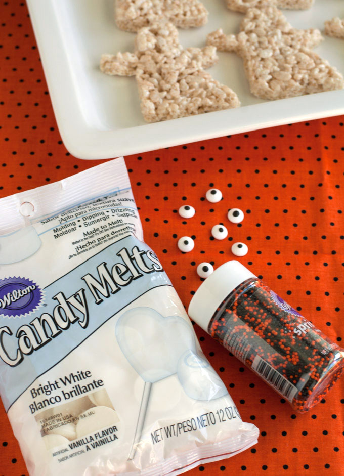 Easy chocolate covered rice krispies treat ghost and Free Boo Basket Printable are the star of this Halloween Boo Basket.