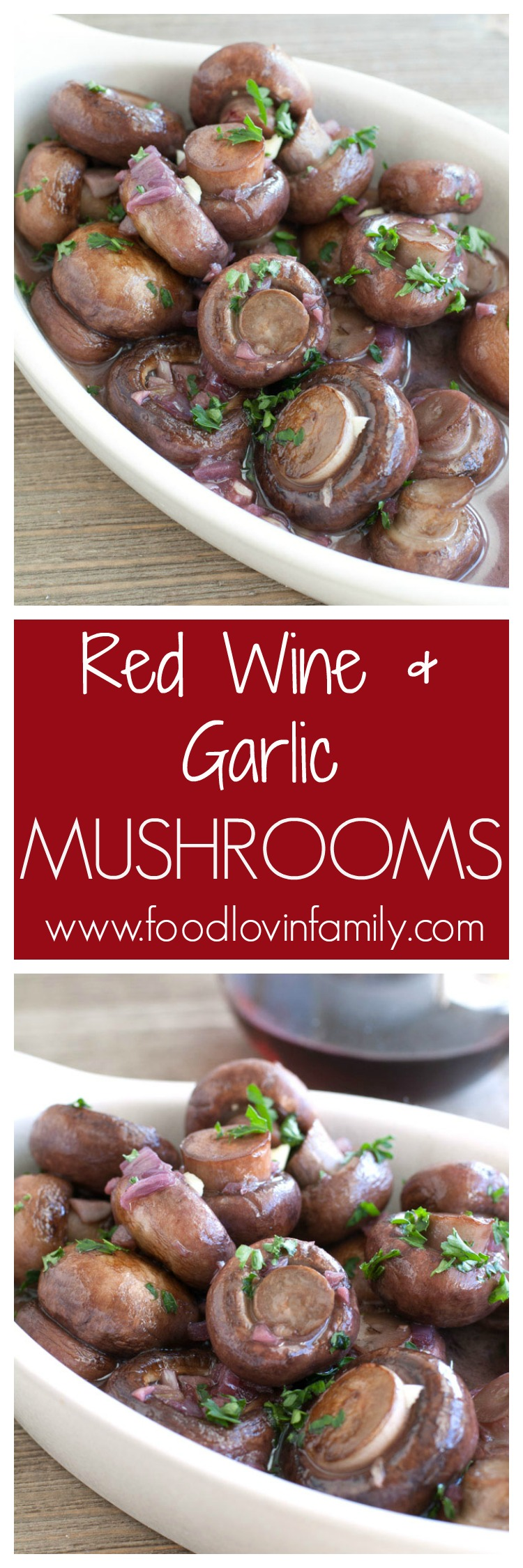 Red wine and garlic mushrooms is a simple and elegant side dish. Mushrooms cooked in butter, red wine, garlic and shallots.