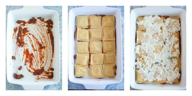 3 steps, casserole dish with sauce, layered with ravioli and then topped with cottage cheese