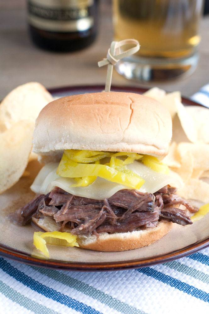 Slow cooked in Warsteiner Premium German Pilsener, this beef with peppers served on a Pepperidge Farm® Bakery Classics Sweet & Soft Slider Bun is hard to beat on game day!