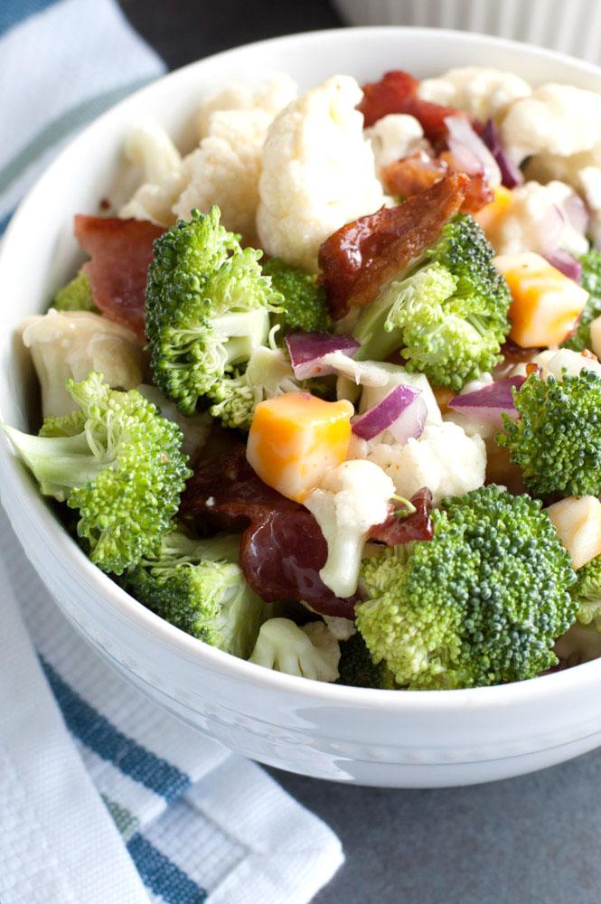 Broccoli Cauliflower Salad recipe in a bowl