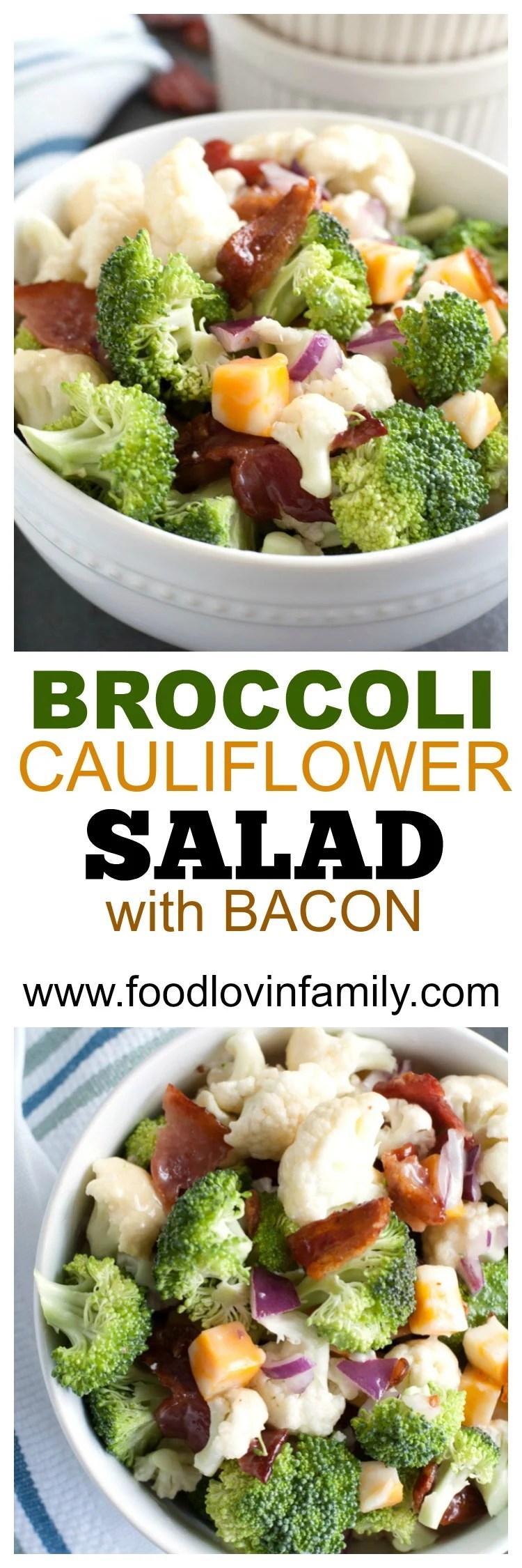 Broccoli and Cauliflower Salad with Bacon PIN