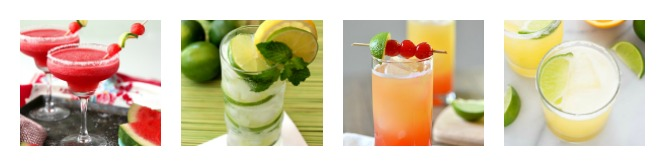 A picture of strawberry margaritas, mojito, sunrise and margaritas