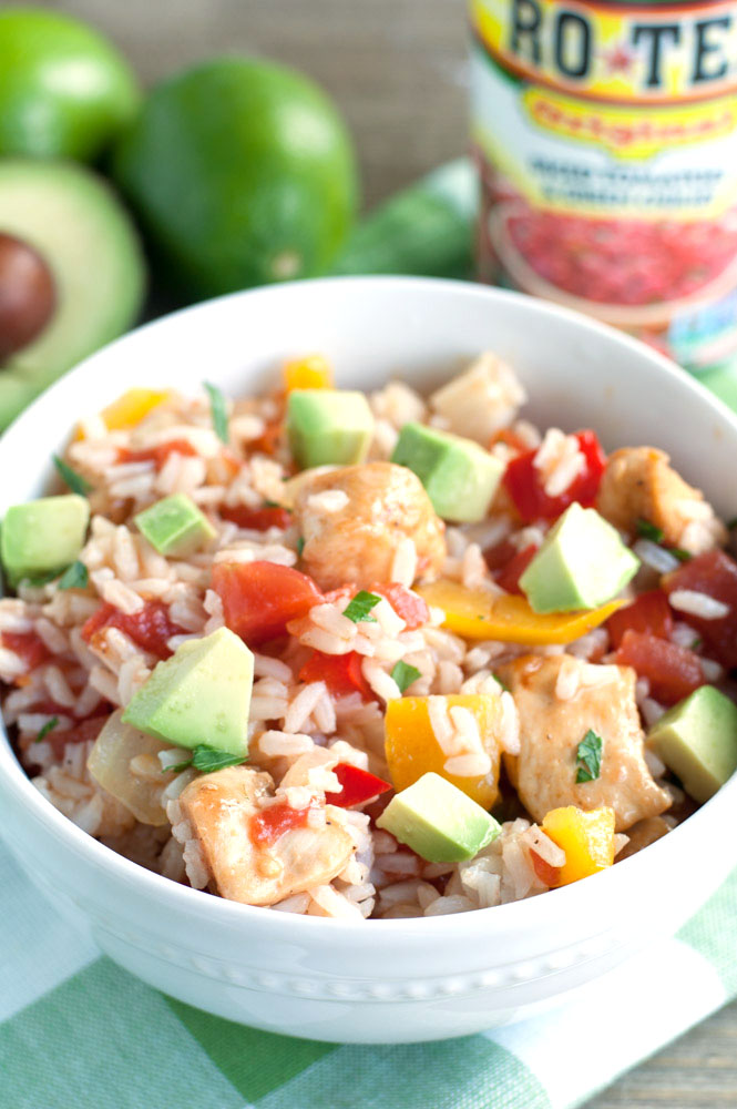 Chicken Fajita Rice Bowl - fajita seasoned chicken mixed with peppers, onions, RO*TEL and cilantro lime rice. A bold and flavorful meal the family will love.