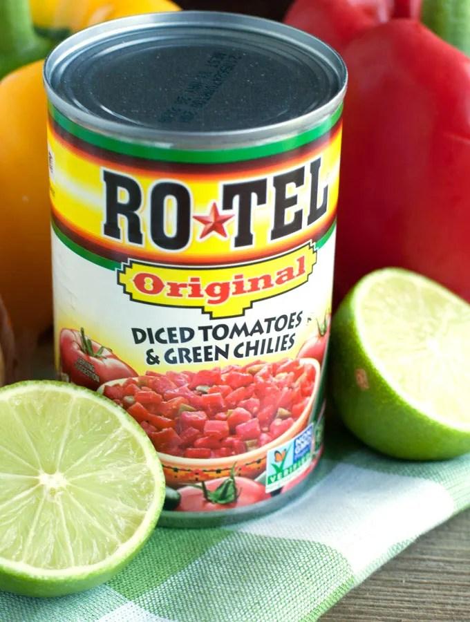 Chicken Fajita Rice Bowl - fajita seasoned chicken mixed with peppers, onions, RO*TEL and cilantro lime rice.