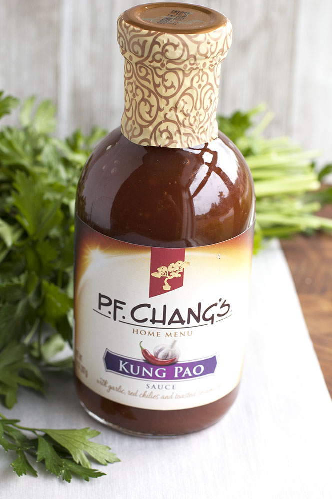Kung Pao Chicken Skewers Asian cuisine made simple with bottle of Kung Pao Sauce