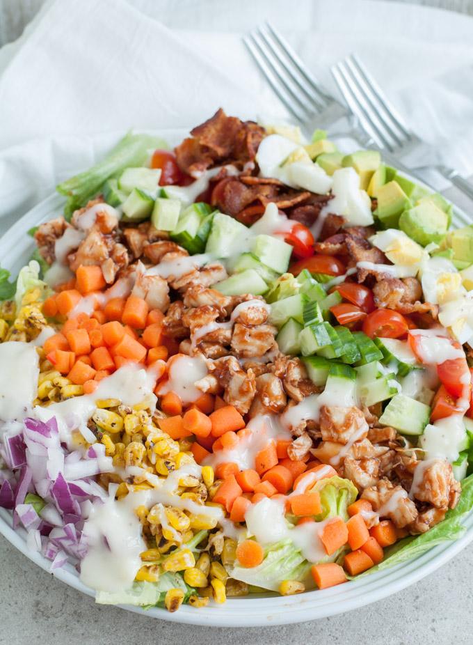 bbq chicken cobb salad summer salad