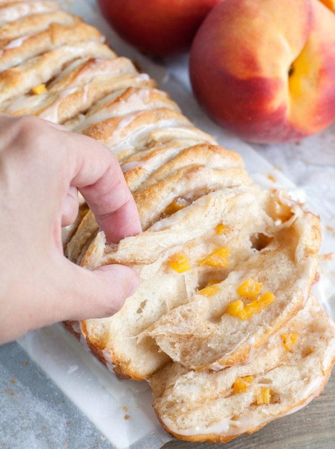 peach pull apart bread with fresh peaches