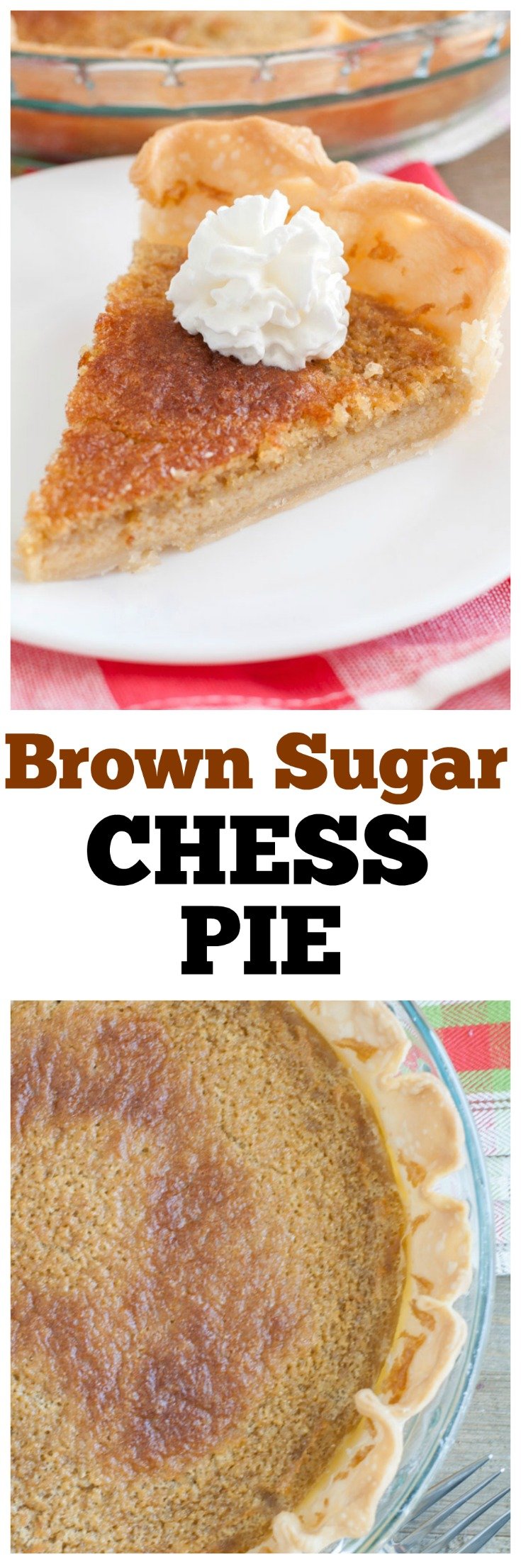 brown sugar chess pie with whipped cream