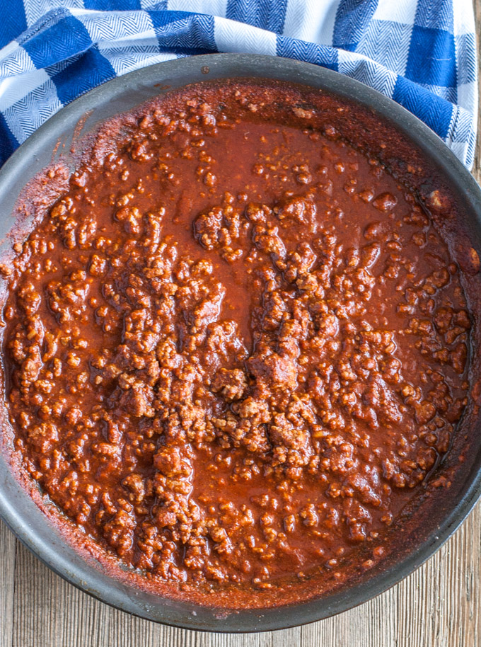 Homemade sloppy joes in a skillet