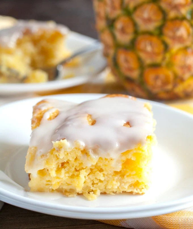 Pineapple cake on plate