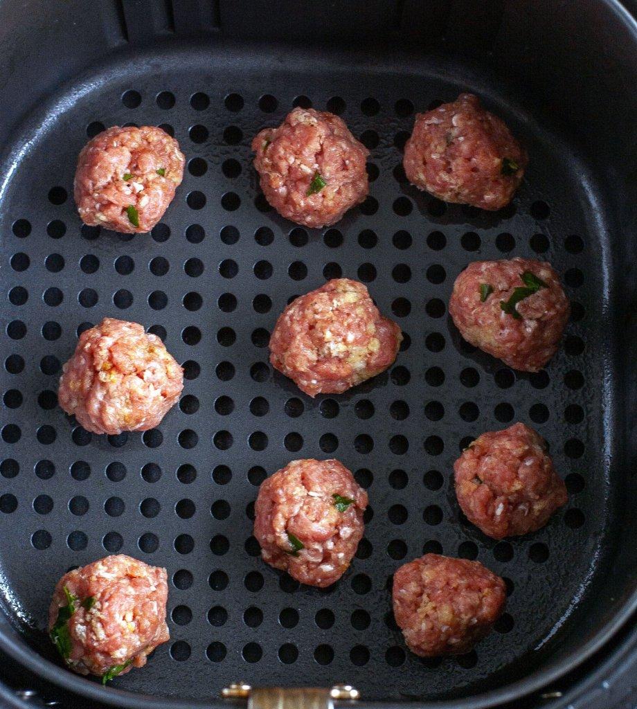 Turkey meatballs in air fryer basket