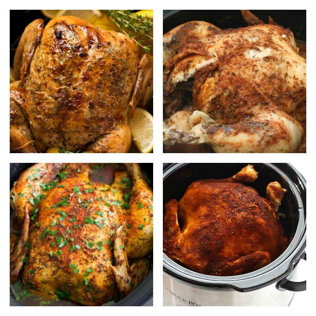 4 pictures of whole chicken