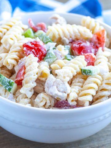 Bowl with chicken pasta salad.