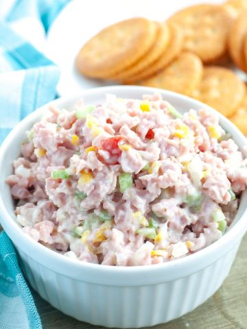 Bowl of ham salad.
