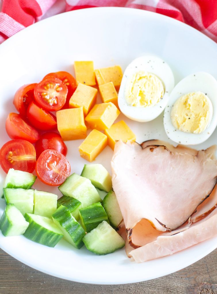A white bowl with tomato, cheese, hard boiled egg, cucumber and turkey