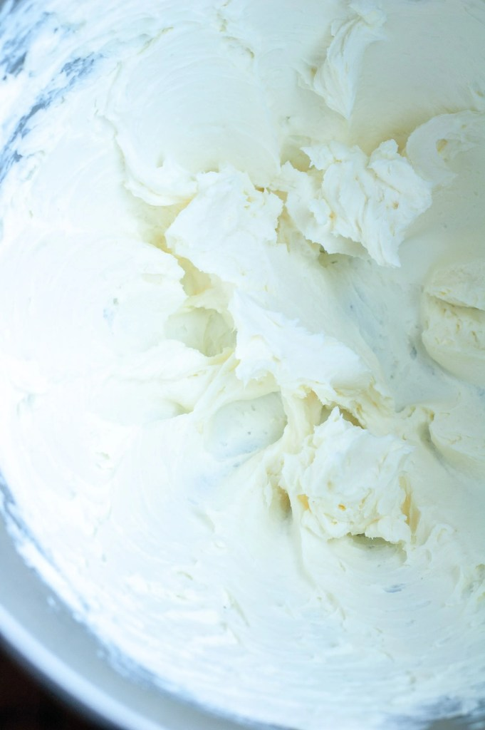 Mixing bowl with whipped cream cheese