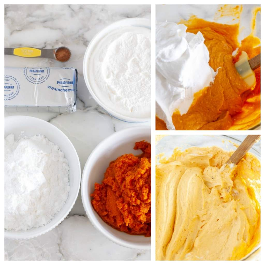 Pumpkin puree, cool whip, sugar and pie spice in a bowl