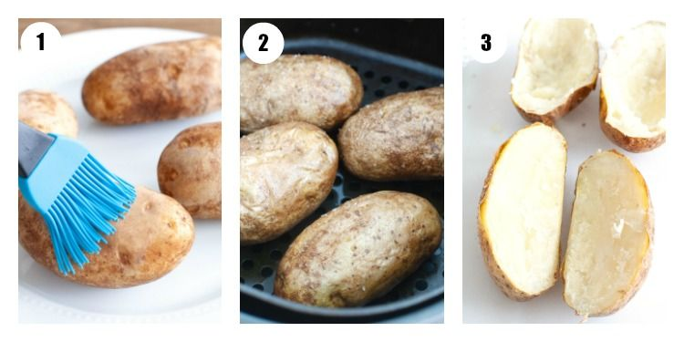 Brushing potato olive oil, baked potato in air fryer, baked potato cut down middle